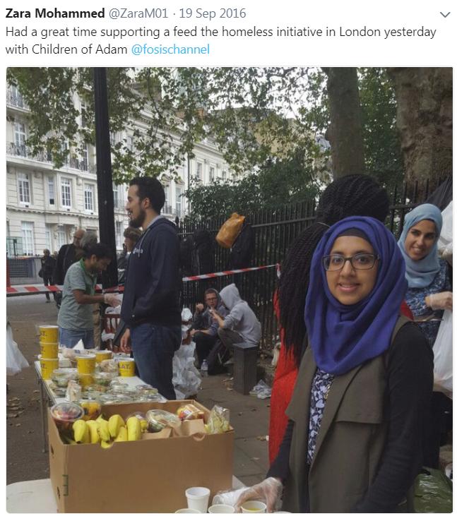 Zara Mohammed Homeless Volunteering