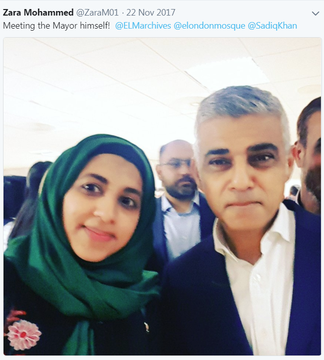 Zara Mohammed Mayor of London Sadiq Khan