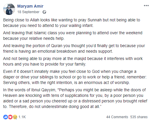 what being close to Allah looks like maryam amir